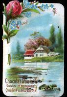 IMAGE CHROMO CHOCOLAT POULAIN / FLEURS ROSE & MYOSOTIS / VILLA en BORD de LAC