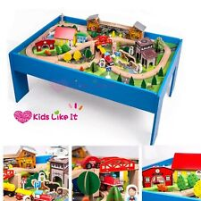 Brand New Wooden Train Table Children Pretend Play Set Toy Kids Toddlers