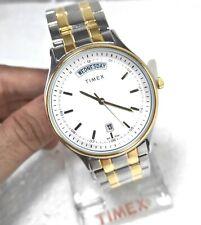 Timex USA Quartz Day Date President Model 38mm Designer White Dial Men's Watch