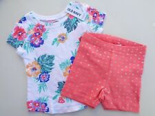 NEW Lot of 2 Old Navy T-shirt Floral Biker Shorts Baby Girls Size 12-18 m 12m 18