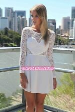 New See Chiffon Women Casual Lace Long Sleeve Party Evening Cocktail  Mini Dress