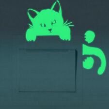 Décorations murales vert stickers chat lumineux interrupteur chic nouveau beaux