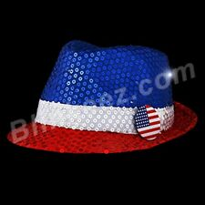 4TH OF JULY RED WHITE BLUE Flashing LightUp Sequin Fedora Hats