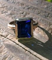 Vintage Antique Inspired Huge Emerald Cut Blue Sapphire Ring 14K White Gold Fnsh