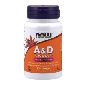 Now Foods A & D 10000/400 100 Softgels Made in USA FREE SHIPPING
