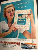 Howard Johnson Restaurant Motor Lodge Hotel Ad 1950s Pretty Girl Menu Americana
