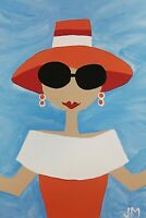"""original ACEO painting signed outsider happy folk art """"Feeling Pretty"""""""