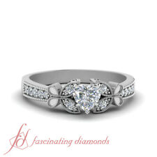 Half Carat Heart Diamond Nature Inspired Butterfly Engagement Rings In Platinum