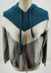 Hippie Rose Teal & Gray Striped Soft Knit Hooded Sweater Juniors Size Small