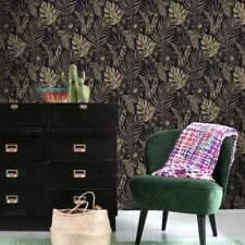 Black and Gold Tropical Leaf Wallpaper Portfolio by Rasch 215533