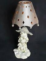 """[AWESOME] Silvestri Frogs Shaded Candle Lamp Handcrafted Vintage 11"""" & 1/4"""" Tall"""