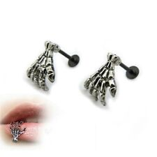 Lip Ring Spike Stud Body Piercing Gifts 3Pc Stainless Punk Skull Hand Labret Ear
