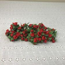 Vintage Red Roses Millinery Flower Stems Cluster Bouquet Spray Lot Korea