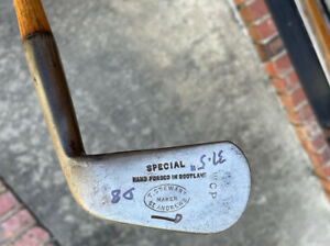 Antique Hickory Wood Shaft Tom Pre Registration Stewart Smooth Face Iron Player