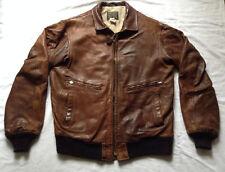 80s Vintage Avirex Leather Bomber Flight Jacket Coat Size L 42 USA MADE