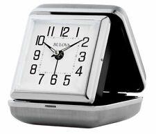 Bulova Traveler Quartz Ascending Alarm Silver Metal Clam Shell Alarm Clock B6123