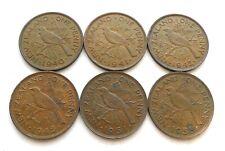 NEW ZEALAND PENNY X 6: DATES 1940, 1941, 1942, 1945, 1951 + 1958. MIXED GRADES.