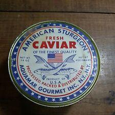 VINTAGE AMERICAN STURGEON TIN BY AQUAMAR GOURMET INC. NEAT USED TIN CAVIAR U.S.