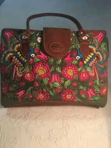 Guatemalan Summer Tropical Embroidered Huipil Flower Print Satchel Bag Purse