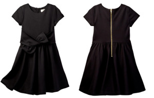 Kate Spade Little Girls Solid Black Fit Flare Dress NEW Tags Size 6 $88