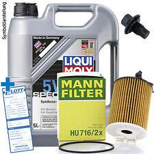 Ölwechsel Set 5L 5W-30 Öl Motoröl LIQUI MOLY + MANN Ölfilter + Ablassschraube