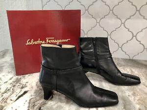 Salvatore Ferragamo Parade Black Leather Buckle Ankle Boots EU 37.5 US 7.5