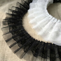 "2Yards Black White Pleated Gauze Lace Trims Wedding Ribbon Trimmings 3.54"" Width"