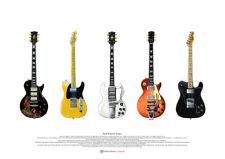 Keith Richards' Guitars - Kunst Poster A2 Größe