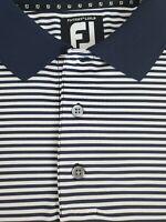 FootJoy FJ Mens Titleist Patch Short Sleeve Blue Striped Golf Polo Shirt Size L