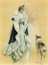 "1902 Harrison Fisher, Collie, DOG, Antique ART PRINT, Beautiful Queen, 17""x13"""
