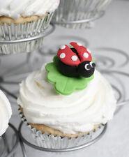 Birthday Cake Cupcake Toppers Edible Ladybugs X 6