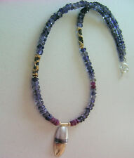 Blue Iolite & Ruby gemstone necklace with shell shaped silver and Gold pendant