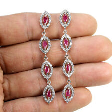 Sterling Silver 925 Genuine Natural Pink Ruby & Lab Diamond Dangle Earrings