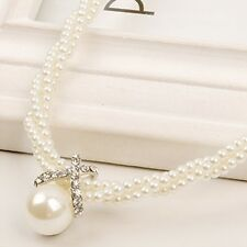 Women Charm Pendant Chain Choker Chunky Pearl Statement Bib Necklace Jewelry