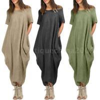 Women Short Sleeve Oversized Loose Baggy Tops Jumper Dress Pullover Dress G4W0