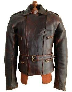 Vtg Mens GERMAN LEATHER MOTORCYCLE Biker Bike Cafe Racer Brando Jacket Coat Lge