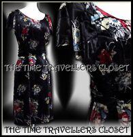 Kate Moss Topshop Black Silk Velvet Floral 40s 50s Vintage Tea Dress UK 10 12