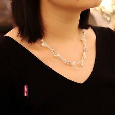 Collier Trois Rang Perle Culture Multicolore Blanc Rose Nacre Goutte Argenté TZ3