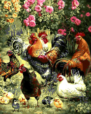 """DIY Paint By Number Kit Art 16x20"""" Acrylic Painting on Canvas farm roosters 1659"""
