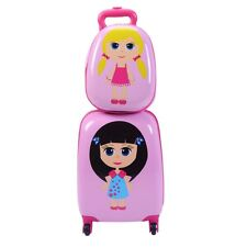 """12"""" 16"""" Kids Girls Luggage Set Suitcase Backpack School Travel Trolley ABS 2Pcs"""