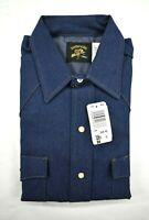 Vintage NOS Key Saddle King Western Mens Blue Denim Long Sleeve Pearl Snap Shirt