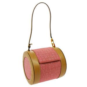 BVLGARI LOGOMANIA Bee Zero Hand Bag Pink Beige Canvas Leather RVETET 03037
