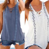 Women Summer Casual V-Neck Sleeveless Straps Vest Shirt Tank Tops Blouse T-shirt