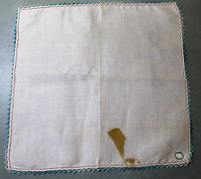 Vtg Pink Linen Hankie Hand Tatted Variegated Blue Edge Made in Ireland  1950s