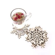 snowflake wood coaster kitchen Christmas xmas placemat decor mug tea coffee