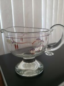 Vintage Clear Glass Footed Gravy Boat Bowl Hand Painted Floral