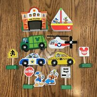 Mickey Mouse Deluxe Wooden Toy Cars 12 P Playset Disney Melissa and Doug Figure