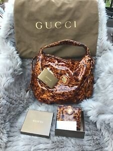 GUCCI HYSTERIA Leopard  Print  Patent Leather Shoulder Hobo Matching Wallet