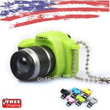 New Mini Digital SLR Camera LED Light and Sound Keychain Key Ring - Green
