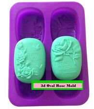 3D Oval Rose Silicon Rubber Soap Chocolate Jelly Mold Molder